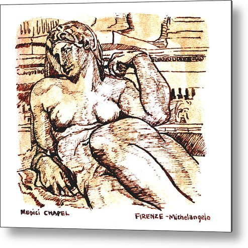 Sketch Metal Print featuring the drawing Sculpture At The Medici Chapel by Dan Earle