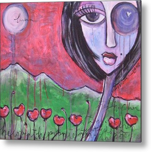Poppies Metal Print featuring the painting She Loved The Poppies by Laurie Maves ART