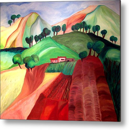 Abstract Metal Print featuring the painting Tuscan Landscape by Patricia Arroyo
