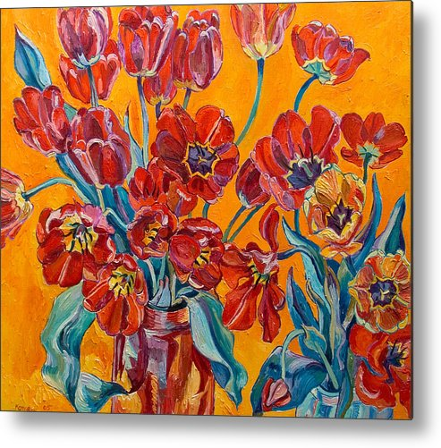 Still Life Metal Print featuring the painting Two Bunches Of Red Tulips by Vitali Komarov