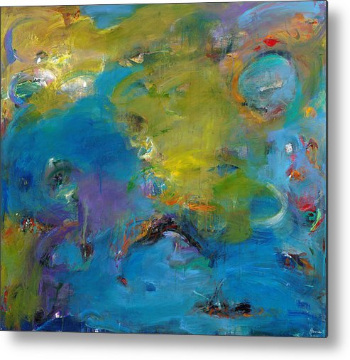 Abstract Expressionistic Metal Print featuring the painting Still Waters Run Deep by Johnathan Harris