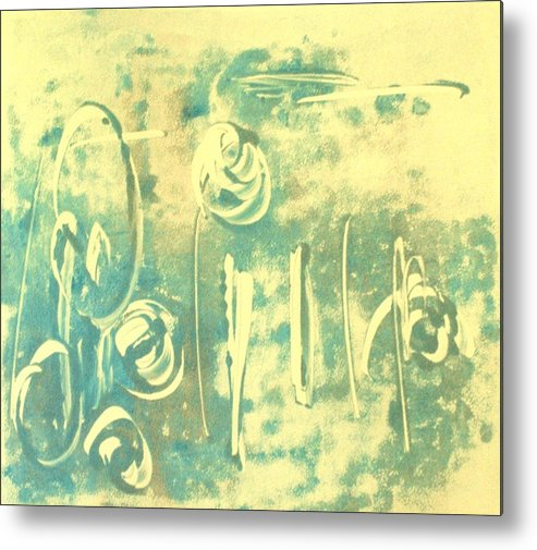 Aqua Metal Print featuring the mixed media Aqua Monotype by Susan Grissom