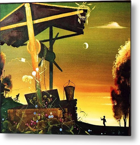 Landscape Metal Print featuring the painting Childhood.summer by Andrej Vystropov