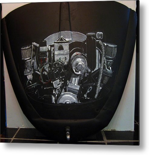 Vw Metal Print featuring the painting 356 Porsche Engine On A Vw Cover by Richard Le Page