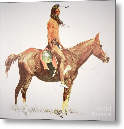 A Cheyenne Brave Metal Print featuring the painting A Cheyenne Brave by Frederic Remington