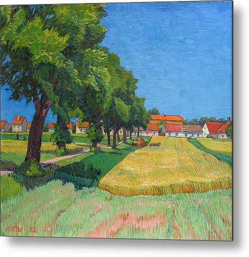 Red Roofs Metal Print featuring the painting A Lane With Blossoming Lindens by Vitali Komarov