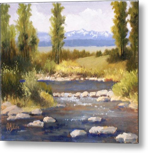 Landscape Metal Print featuring the painting Moyie River by Dalas Klein