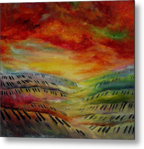 Surreal Music Metal Print featuring the painting Piano Key Dusk by Stephanie Cox
