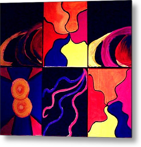 Abstract Metal Print featuring the painting Psychedelia by Rusty Woodward Gladdish