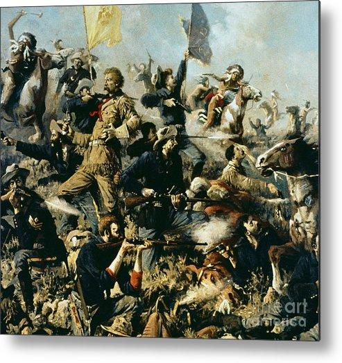 Battle Of Little Bighorn Metal Print featuring the painting Battle Of Little Bighorn by Edgar Samuel Paxson