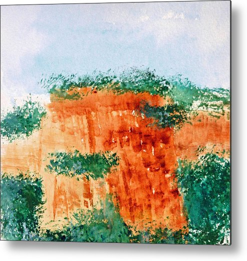Landscape Metal Print featuring the painting Cliffdwellers by David Keene