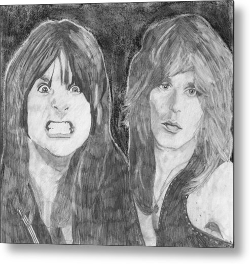 Ozzy Osbourne Metal Print featuring the drawing Ozzy Osbourne And Randy Rhoads by Bari Titen
