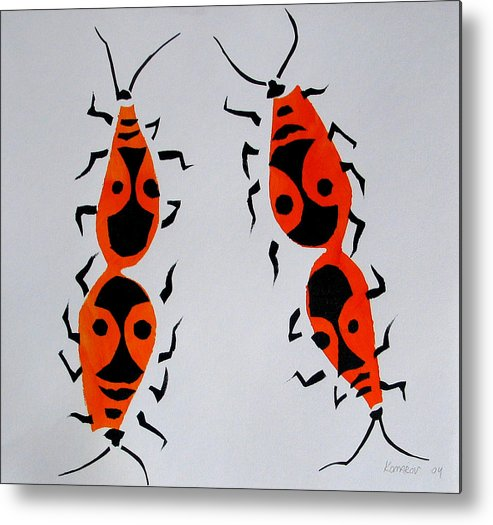 Bug Metal Print featuring the painting Red Bugs by Vitali Komarov