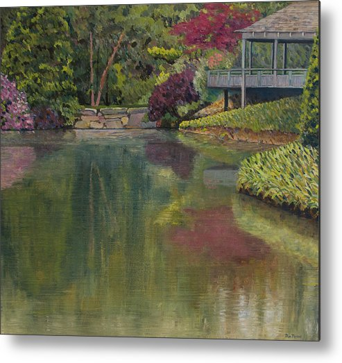 Impressionist Metal Print featuring the painting Tea House by Don Perino