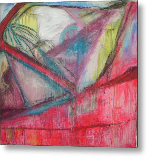Abstract Metal Print featuring the painting Car Crash Highway 21 by Moby Kane