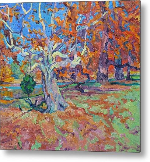 Platan Metal Print featuring the painting Platan Tree In Sunny Autumn by Vitali Komarov