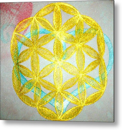 Sacred Geometry Metal Print featuring the painting Seed Of Life by Chandelle Hazen
