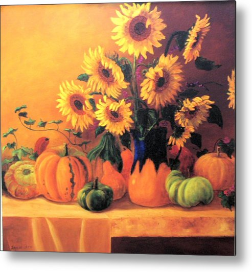 Sunflowers Metal Print featuring the painting Sunflowers And Squash by Jeanene Stein