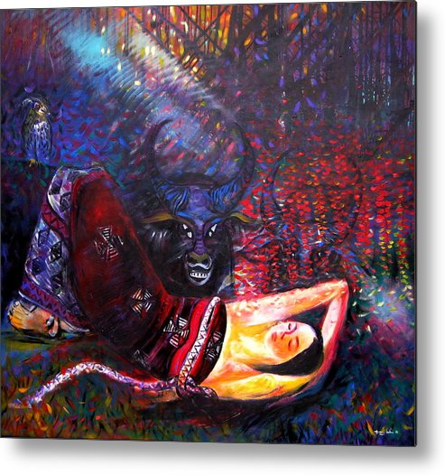 Cultural Metal Print featuring the painting The Scent Of The Forest by TrongAnh Gallery Artgallery