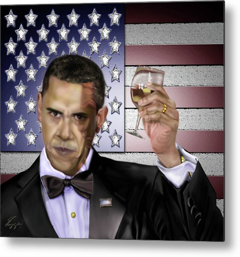 Barack Obama Metal Print featuring the painting Toast - Respect by Reggie Duffie