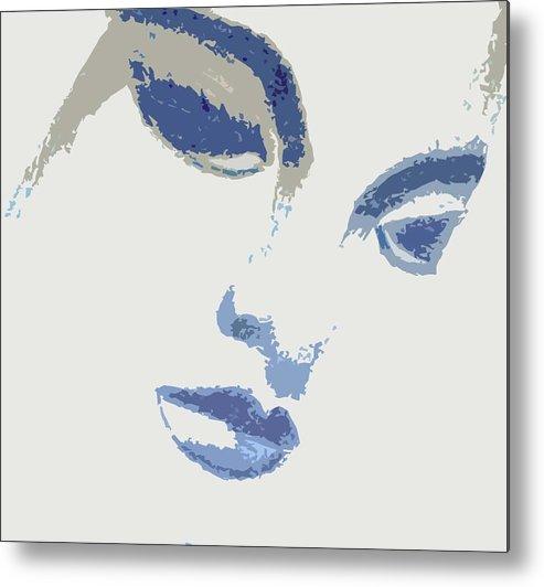 Woman Metal Print featuring the drawing Vivian Blue by Jennifer Ott