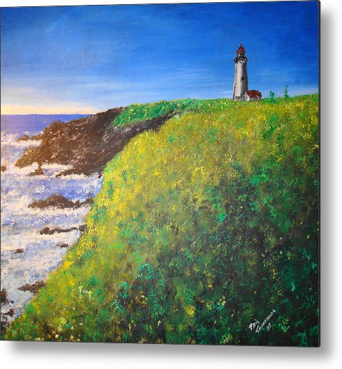 Lighthouse Metal Print featuring the painting Yaquina Head Light by Phil Cashdollar