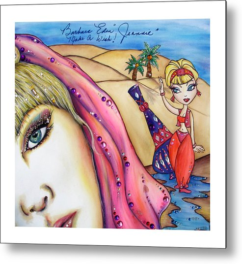 Barbara Eden Metal Print featuring the mixed media Make A Wish by Joseph Lawrence Vasile