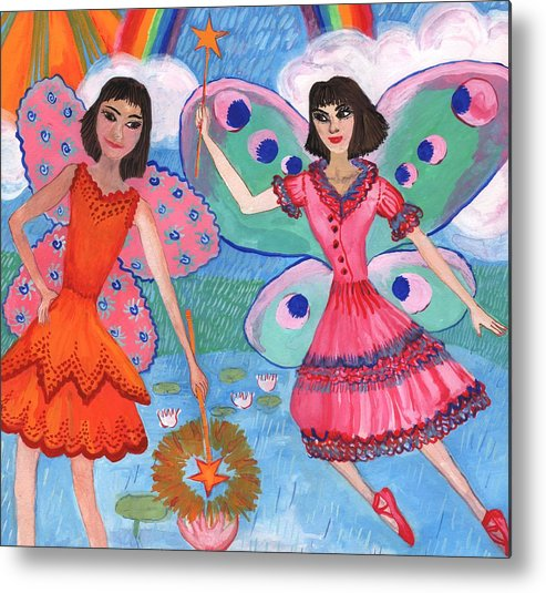 Sue Burgess Metal Print featuring the painting Detail Of Lily Pond Fairies by Sushila Burgess