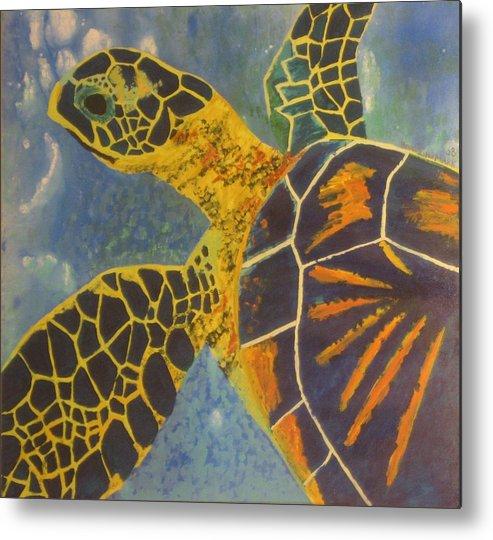 Turtle Paintings Metal Print featuring the painting Green Sea Turtle by Bryan Zingmark