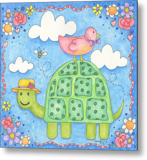 Turtle Metal Print featuring the painting Happy Turtle by Hillary James