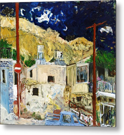 Village Houses Traffic Sign Telephone Cables Van Mountain Dark Sky Metal Print featuring the painting Pissouri Village by Joan De Bot
