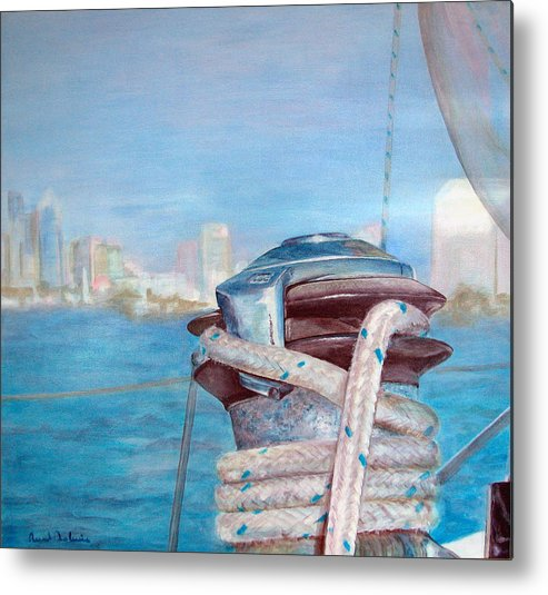 Landscape Metal Print featuring the painting San Diego by Muriel Dolemieux