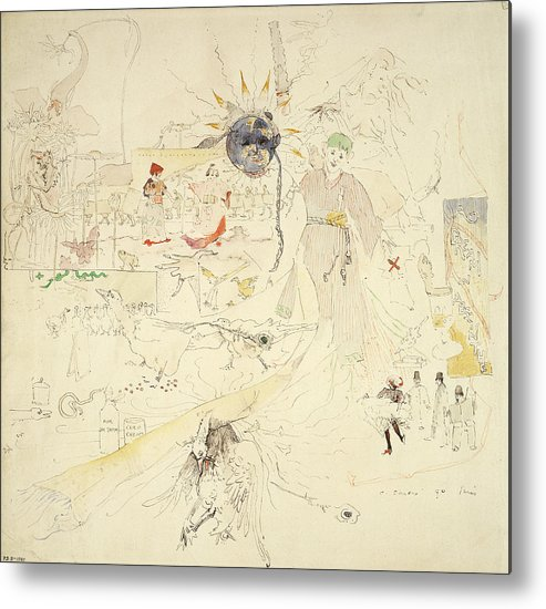 Dreams Metal Print featuring the drawing A Dream In Absinthe, 1890 by Charles Edward Conder