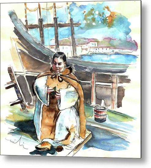 Portugal Metal Print featuring the painting Preaching The Bible On The Conquistadores Boat In Vila Do Conde In Portugal by Miki De Goodaboom