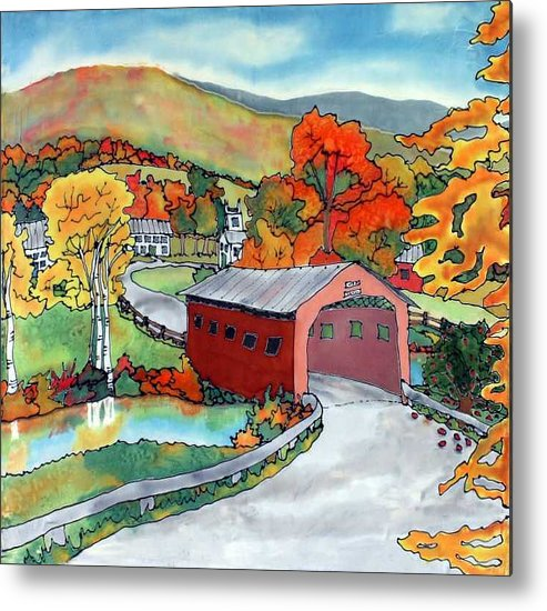 Silk Painting Metal Print featuring the painting Bridge At The Green by Linda Marcille