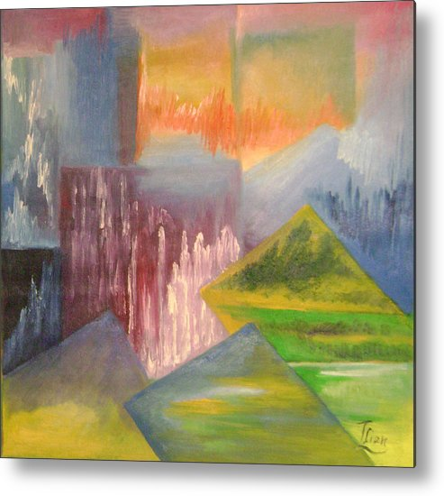 Abstract Metal Print featuring the painting Chinese Landscape 3 by Lian Zhen