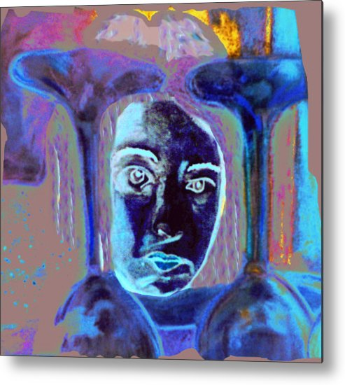 Figurative Metal Print featuring the drawing Ladywith Glasses by JuneFelicia Bennett