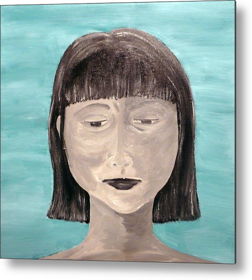 Portrait Metal Print featuring the painting Sadness by Jennifer Hernandez