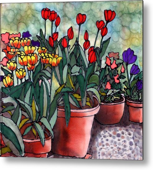 Silk Metal Print featuring the painting Tulips In Clay Pots by Linda Marcille
