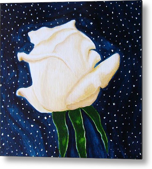 Flowers Metal Print featuring the painting Winter Rose by Sharonanne Baillie