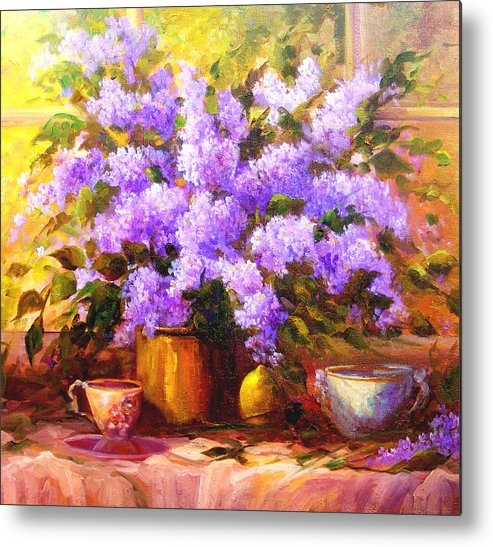 Lilacs Metal Print featuring the painting Lilacs by Gail Salitui