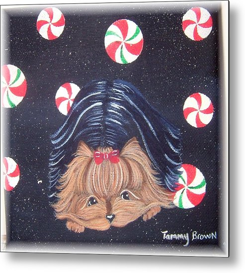 Dog Metal Print featuring the painting Sweet Treats For Yorkie by Tammy Brown