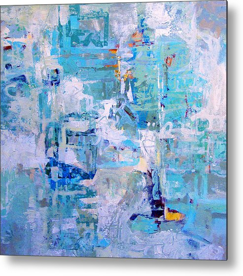 Abstract Metal Print featuring the painting Blue Beacon by Dale Witherow