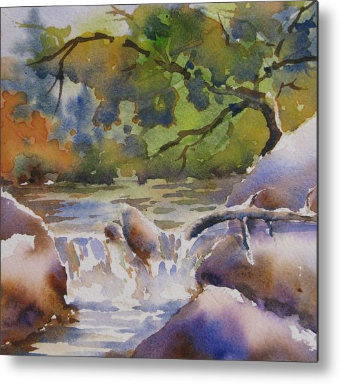 Watercolor Metal Print featuring the painting Cascade 2 by Chito Gonzaga
