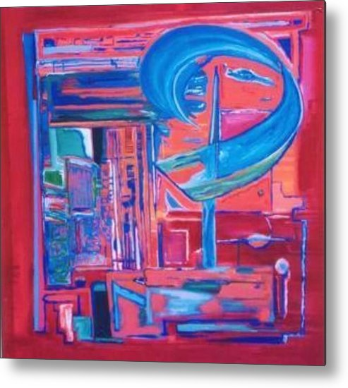 Red Metal Print featuring the painting Composicion Azul by Michael Puya