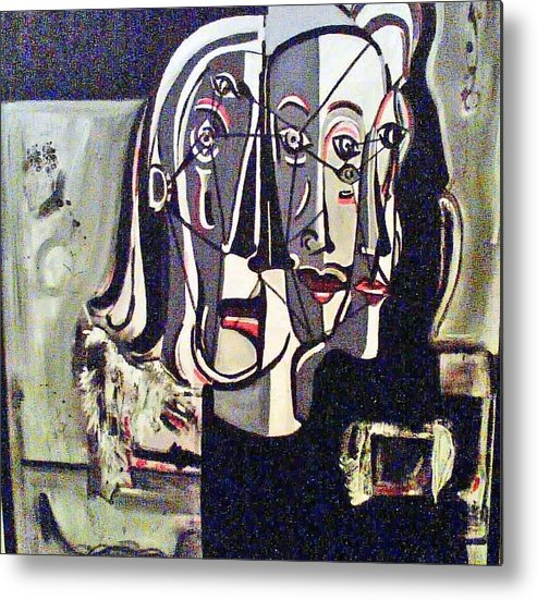 Abstract Portrait Modern Art Metal Print featuring the painting Connected by DC Campbell