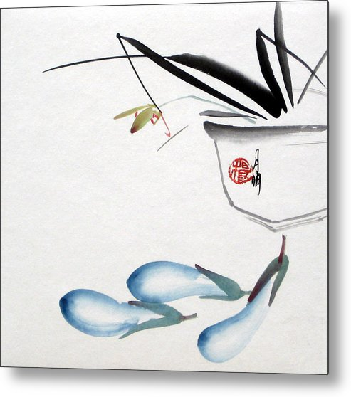 Chinese Painting Metal Print featuring the painting Eggplant by Ming Yeung