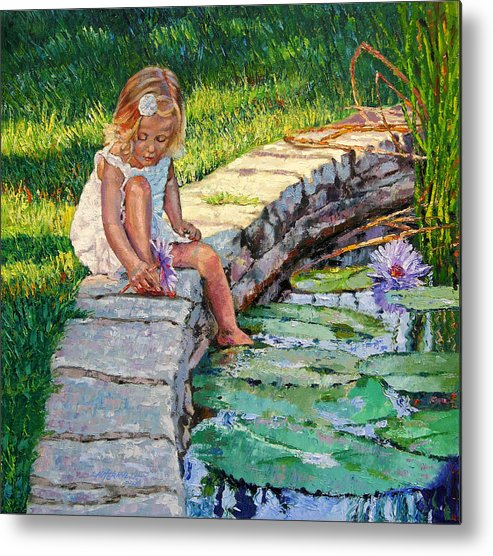 Small Girl Metal Print featuring the painting Enjoying Yesterdays Sunlight by John Lautermilch