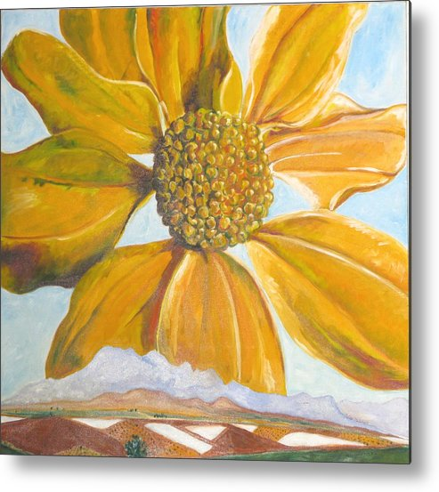 Landscape Metal Print featuring the painting Fields On A Flowery Morning by Kathy Mitchell