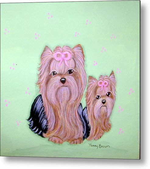 Yorkshire Terrier Metal Print featuring the painting Mother's Love by Tammy Brown